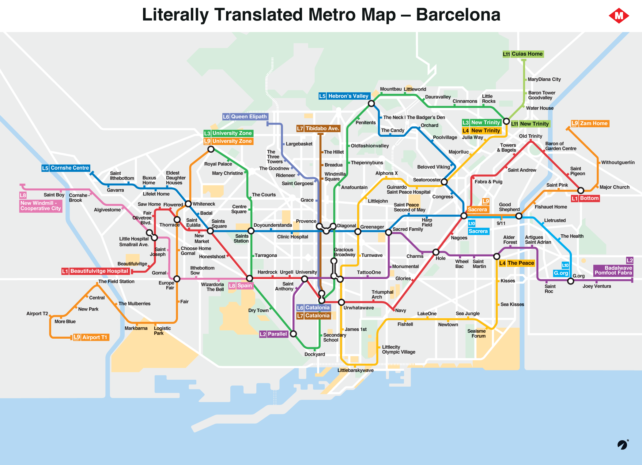 Barcelona Metro Map Literally Translated To English With Brilliant